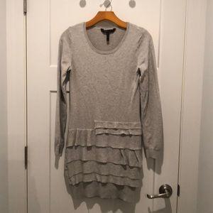 BCBG MaxAzria gray ruffled sweater dress